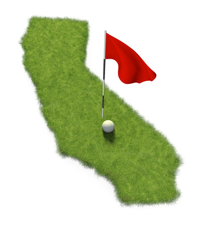 putting: Golf ball and flag pole on course putting green shaped like the state of California Stock Photo
