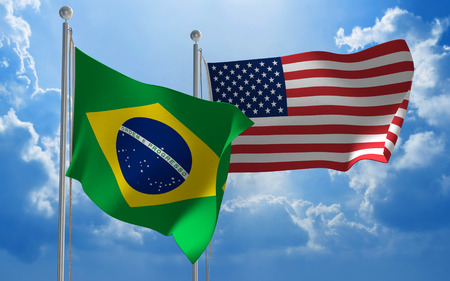 diplomatic: Brazil and United States flags flying together for diplomatic talks Stock Photo