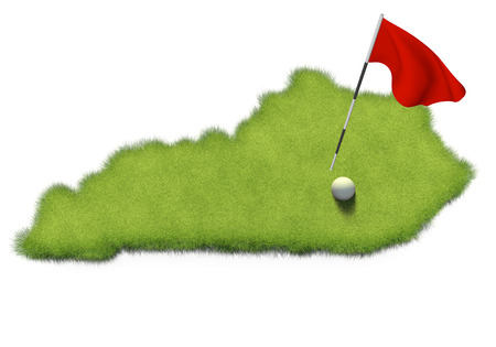 putting green: Golf ball and flag pole on course putting green shaped like the state of Kentucky