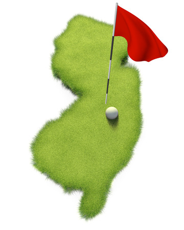putting green: Golf ball and flag pole on course putting green shaped like the state of New Jersey