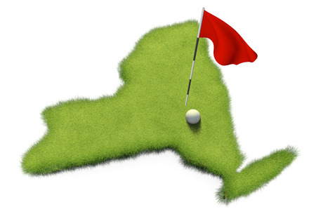 flag pole: Golf ball and flag pole on course putting green shaped like the state of New York