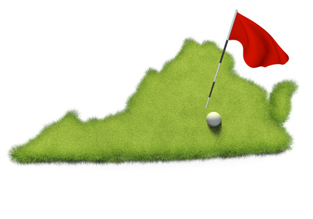 putting: Golf ball and flag pole on course putting green shaped like the state of Virginia Stock Photo