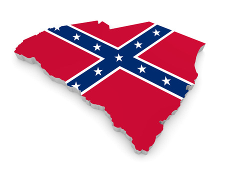 rebel: State border map of South Carolina with the rebel Confederate Flag Stock Photo