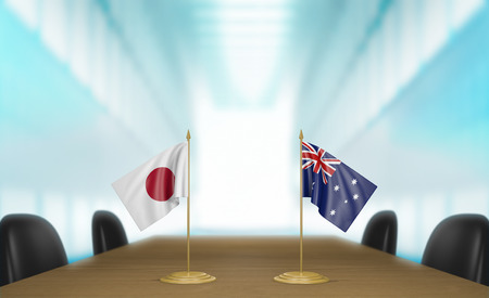 japan flag: Japan and Australia relations and trade deal talks 3D rendering