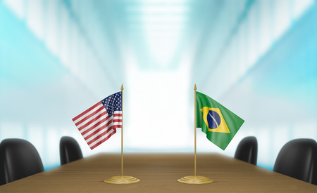 talks: United States and Brazil relations and trade deal talks 3D rendering