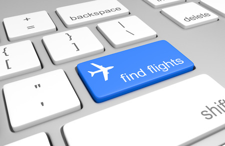Flight search key on a computer keyboard for online booking