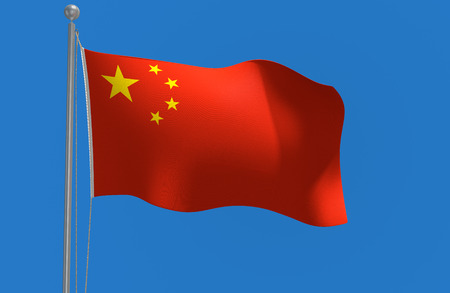 symbolical: China national flag flying against a blue sky rendered in 3D Stock Photo