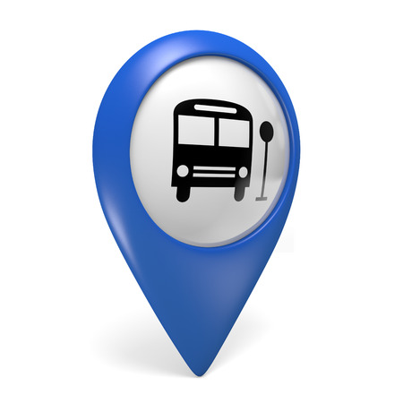 Blue map pointer 3D icon with a bus symbol for public transportation Zdjęcie Seryjne
