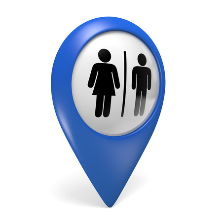 Blue map pointer 3D icon with male and female gender symbols for restrooms Stock Photo