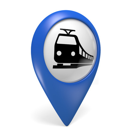 railway: Blue map pointer 3D icon with a train symbol for railway stations