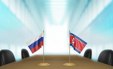conversaciones: Russia and North Korea relations and trade deal talks 3D rendering