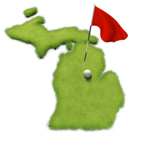 flag pole: Golf ball and flag pole on course putting green shaped like the state of Michigan