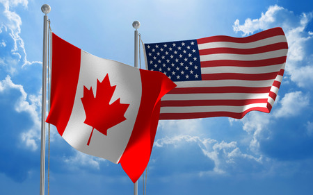 カナダとアメリカ合衆国の国旗 写真素材