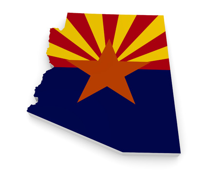 geographic: Geographic border map and flag of Arizona, The Grand Canyon State