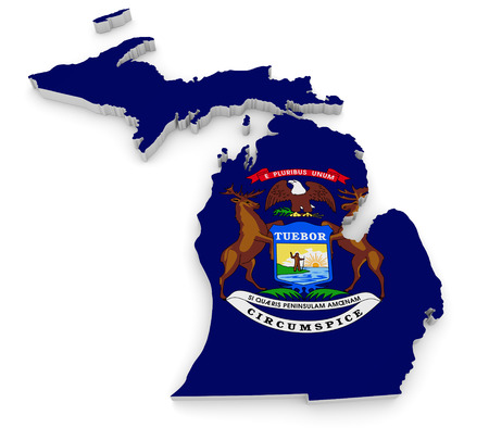 great lakes: Geographic border map and flag of Michigan, The Great Lakes State
