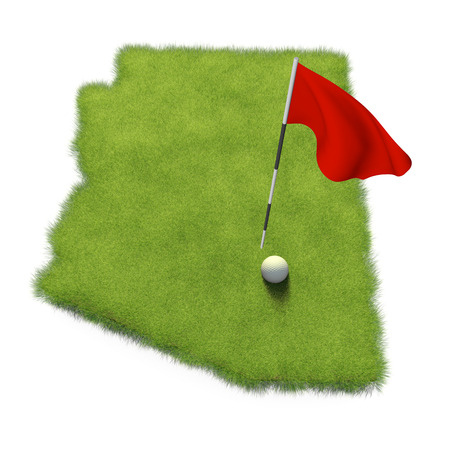 putting green: Golf ball and flag pole on course putting green shaped like the state of Arizona Stock Photo