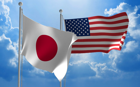 japanese flag: Japanese and United States flags