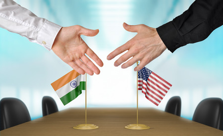 union flag: India and United States diplomats agreeing on a deal Stock Photo