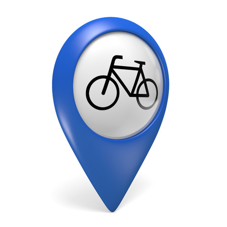 pointer: Blue map pointer 3D icon with a bicycle symbol for bike paths and cycling