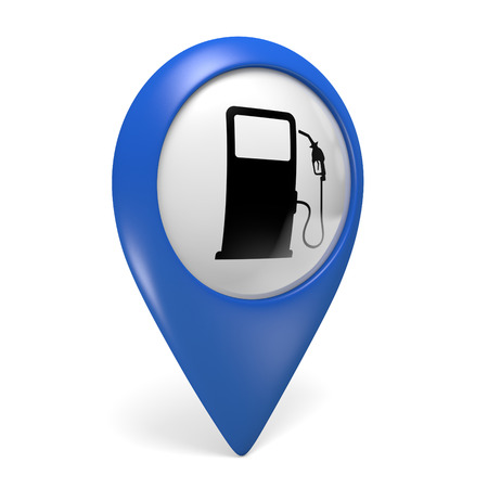 pointer: Blue map pointer 3D icon with a fuel pump symbol for gas stations