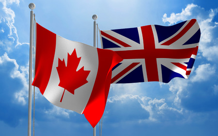 diplomatic: Canada and United Kingdom flags flying together for diplomatic talks