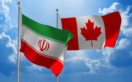 diplomatic: Iran and Canada flags flying together for diplomatic talks