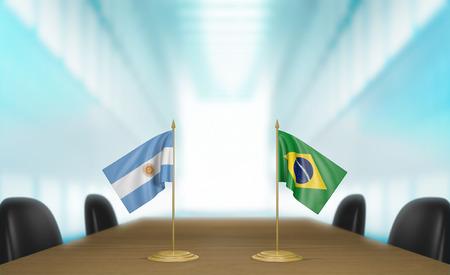 conversaciones: Argentina y Brasil las relaciones y acuerdo comercial habla representaci�n 3D Foto de archivo