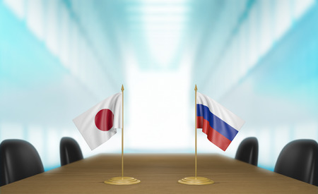 talks: Japan and Russia relations and trade deal talks 3D rendering Stock Photo