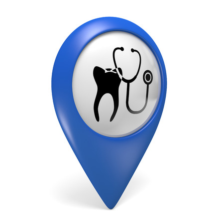 map icon: Blue map pointer 3D icon with a tooth symbol for dental clinics Stock Photo