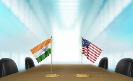 conversaciones: India y Estados Unidos las relaciones y las negociaciones comerciales de acuerdo representación 3D