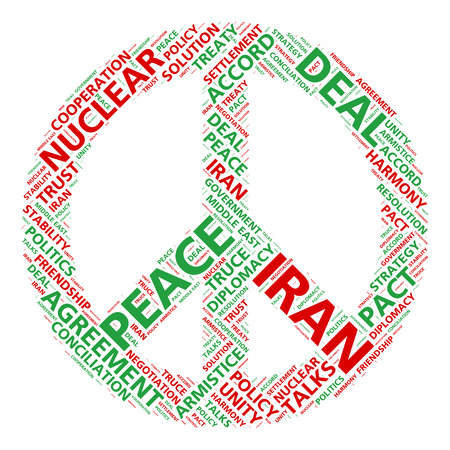 simbolo della pace: Pace simbolo nuvola parola per l'Iran accordo nucleare