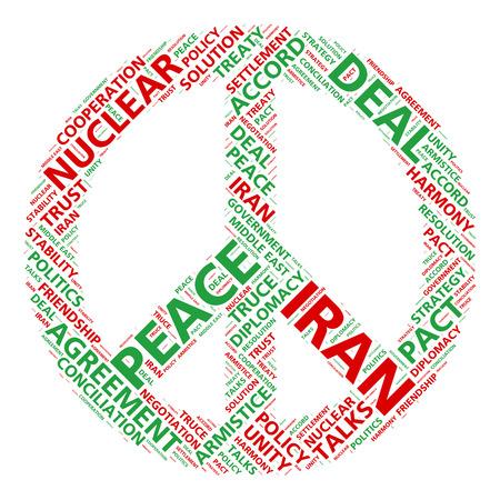 simbolo paz: Paz símbolo de nube de palabras para acuerdo nuclear de Irán Foto de archivo
