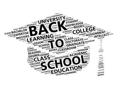 school class: Graduation cap word cloud for going back to school