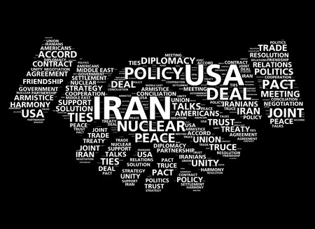 cloud based: Handshake word cloud based on United States and Iran nuclear peace deal