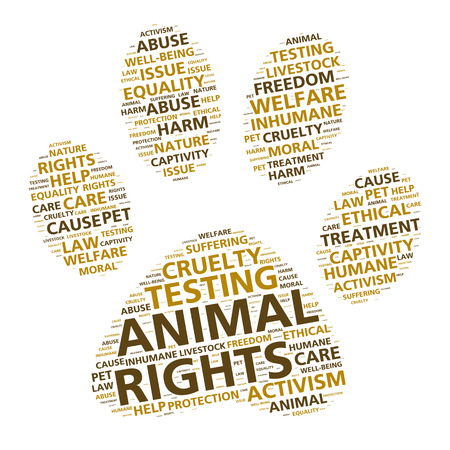 animal abuse: Paw print word cloud for animal rights and ethical treatment Stock Photo