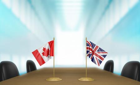 conversaciones: Canadá y las relaciones y acuerdo comercial Reino Unido habla representación 3D