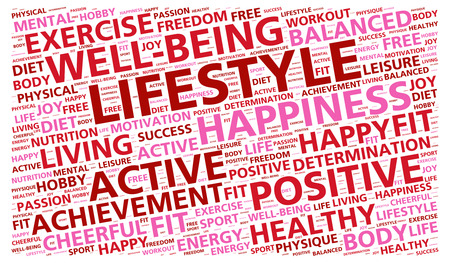Lifestyle word cloud nadruk op gezond leven Stockfoto