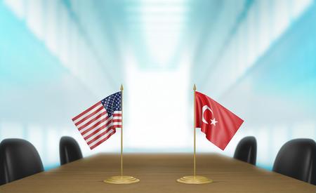 conversaciones: Estados Unidos y Turquía y las relaciones acuerdo comercial conversa representación 3D