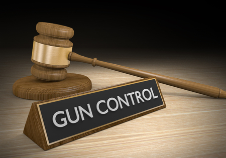 shootings: Gun control laws and court legal battle concept