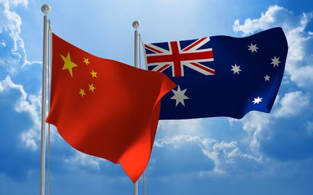 China en Australië vlaggen die samen vliegen voor diplomatiek overleg Stockfoto