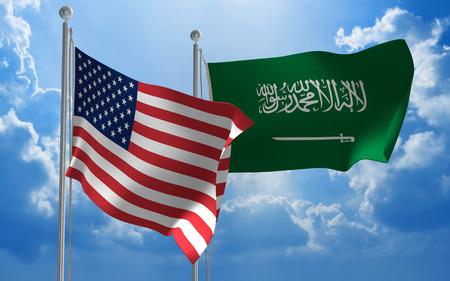 conversaciones: Estados Unidos y Arabia Saudita banderas volando juntos para mantener conversaciones diplom�ticas Foto de archivo