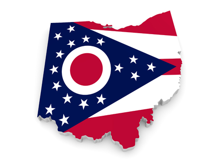 ohio: Geographic border map and flag of Ohio, The Buckeye State