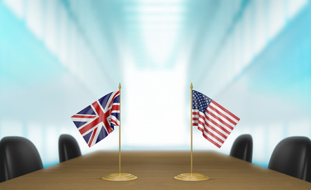 United Kingdom and United States relations and trade deal talks 3D rendering Stock Photo