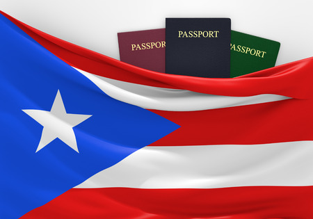 overseas visa: Travel and tourism in Puerto Rico, with assorted passports