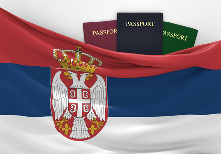 serb: Travel and tourism in Serbia, with assorted passports