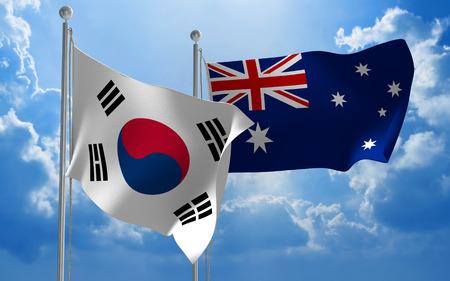 conversaciones: banderas de la Corea del Sur y Australia que vuelan juntos para mantener conversaciones diplom�ticas Foto de archivo