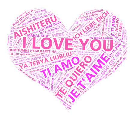 word cloud: Heart shape word cloud with the words I love you in many different languages