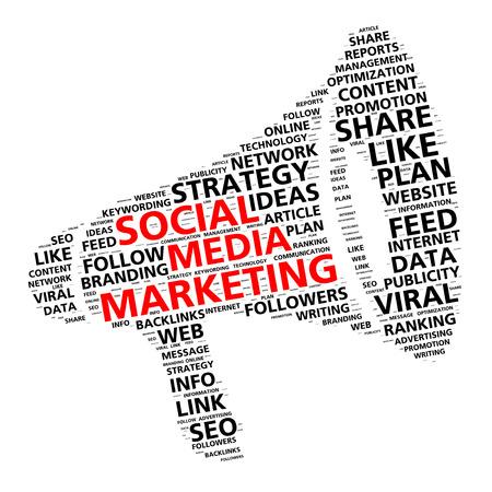 Social media marketing woord wolk in de vorm van een megafoon voor de inhoud promotie
