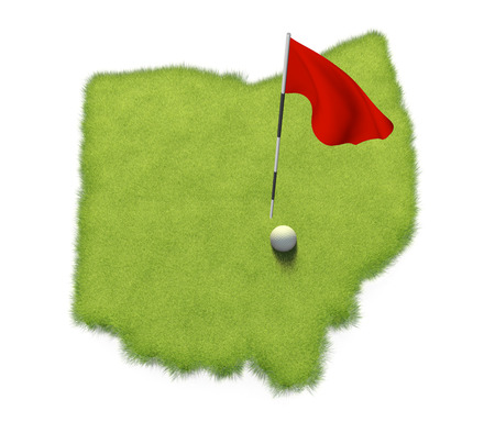 flag pole: Golf ball and flag pole on course putting green shaped like the state of Ohio