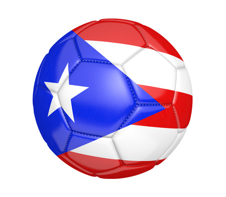 puerto rican flag: Football, also called a soccer ball, with the national flag colors of Puerto Rico Stock Photo